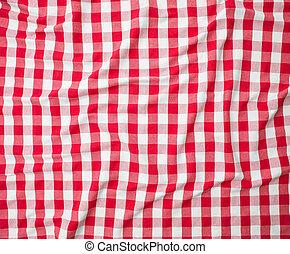 rood, linnen, verfrommeld, tafelkleed