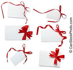 rood lint, kaart, aantekening, verzameling