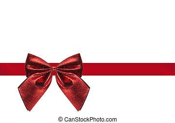 rood lint, met, lus, vrijstaand, met, witte achtergrond