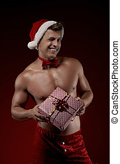 rood, man, het knipperen, cadeau, kerstmis