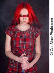 rood, meisje, haar, zwaard