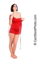 rood, mooi, jurkje, vrouw