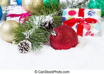 rood, ornament, met, kerstmis, achtergrond