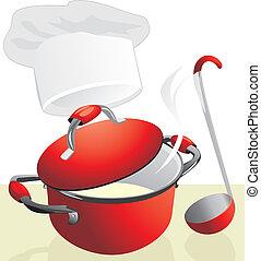 rood, pan, met, porridge., maaltijd tijdstip