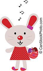 rood, pasen, het zingen, konijntje, vrijstaand, op wit