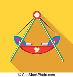 rood, pictogram, speelplaats, scheepje, schommel