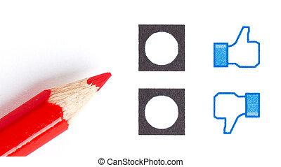 rood potlood, kies, de, rechts, humeur