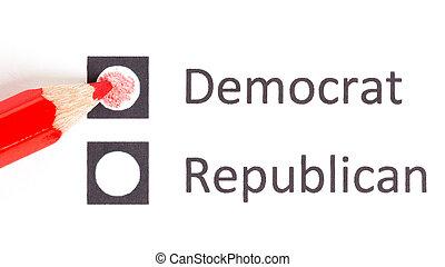 rood potlood, kies, tussen, democraat, en, republikein