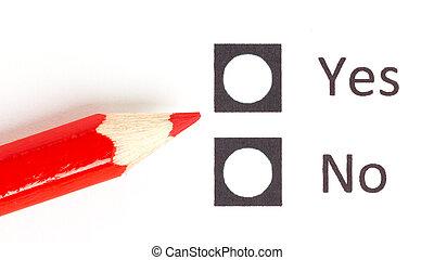 rood potlood, kies, tussen, ja, of, nee