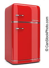 rood, retro, koelkast