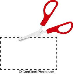 rood, schaar, uitsnijden, bon, op, stippellijn