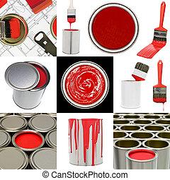 rood, schilderij, voorwerpen