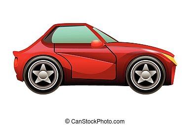 rood, sportende, auto, pictogram, vrijstaand, op wit