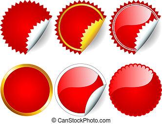 rood, sticker, set