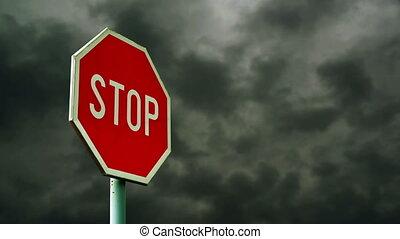 rood, stopteken, op, de, straat.