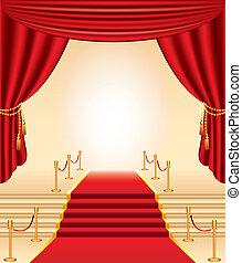 rood tapijt, gouden, stanchions, trap, en, gordijnen