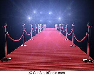 rood tapijt, met, flits, lichten, in, de, achtergrond