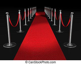 rood tapijt, nacht, conept
