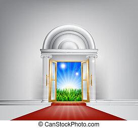 rood tapijt, natuur, deur