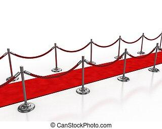 rood tapijt, vrijstaand, illustratie, 3d