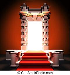 rood tapijt, weg, om te, klassiek, portal.