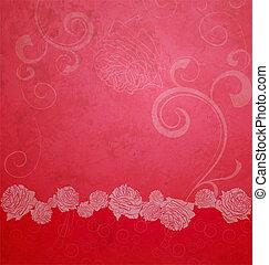 rood, textured, illustratie, met, rozen, grens