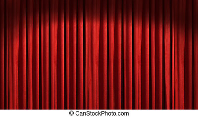 rood, theatergordijnen, met, donker, schaduwen