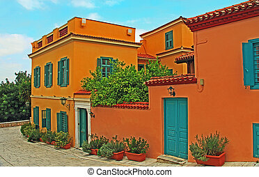 rood, thuis, griekenland, athene, straat, shuttered