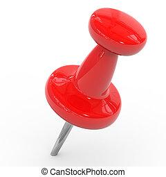 rood, thumbtack, op, een, witte , achtergrond.