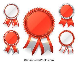 rood, toewijzen, medailles