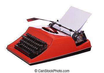 rood, typemachine, met, papier