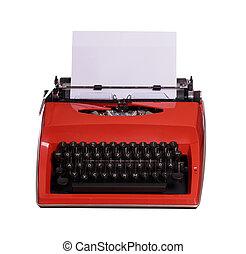 rood, typemachine, met, witte , papier