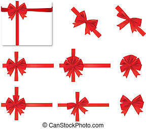 rood, verzameling, vector., bows.