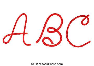 rood, vezel, koord, krom, in, de, vorm, van, brief