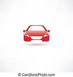 rood, voorkant, auto