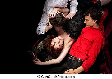 rood, vrouw, en, twee mannen, -, decadentie, stijl