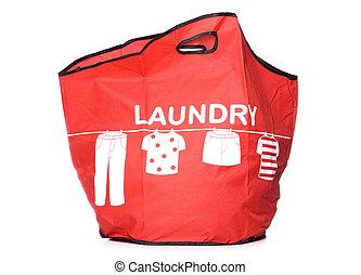 rood, wasserij, dragen, zak, uitsnijden