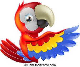 rood, wijzende, spotprent, papegaai