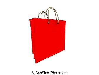 rood, winkel, zak