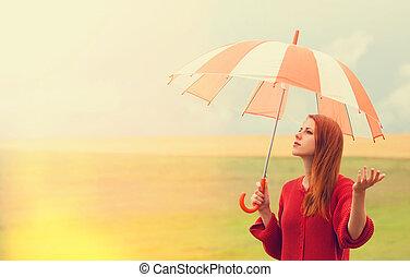 roodharige, meisje, paraplu, weide