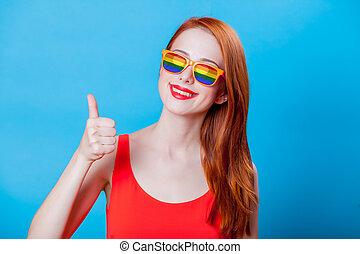 roodharige, regenboog, meisje, zonnebrillen