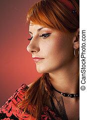 roodharige, verticaal, close-up, vrouw, retro