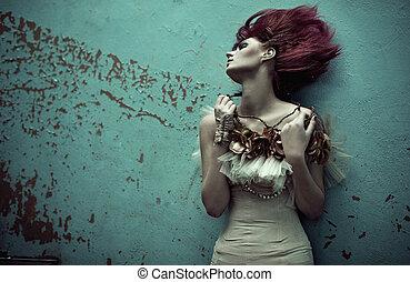 roodharige, vrouw, kapsel, zich verbeelden