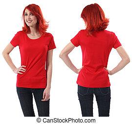 roodharige, vrouwlijk, met, leeg, rood hemd