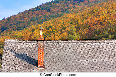 Roof and chimney in autumn
