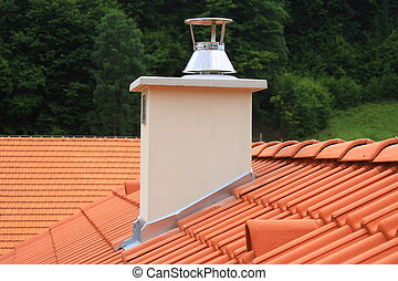 Roof and chimney  - Red concrete roofing and chimney
