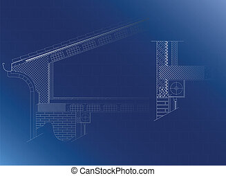 Roof architectural detail, vector