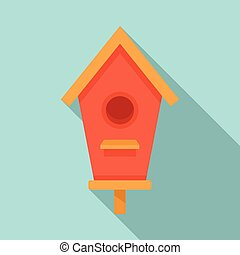 Roof bird house icon, flat style
