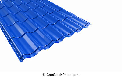 roof blue metal tile on a white backgroun