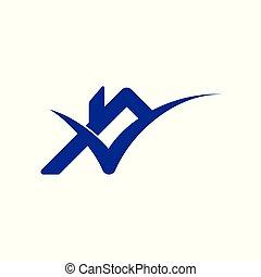 roof check mark home logo vector